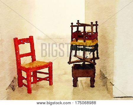 Digital watercolor painting of a red mini chair with rush seat and a wooden wool spinner with red yellow and green wool and space for text.