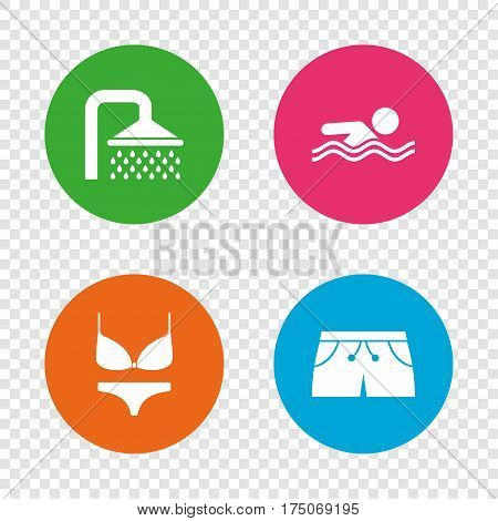 Swimming pool icons. Shower water drops and swimwear symbols. Human swims in sea waves sign. Trunks and women underwear. Round buttons on transparent background. Vector