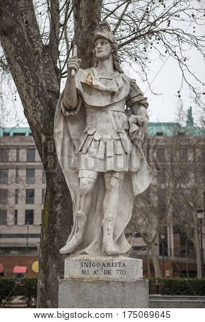 Madrid Spain - february 26 2017: Sculpture of Inigo Arista King at Plaza de Oriente Madrid. He was considered the first King of Pamplona 770