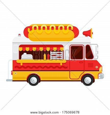The colorful cute hot dog van vector flat illustration the hot dog and snacks truck side view isolated on white background. Hot dog illustration for banner design web and other graphic