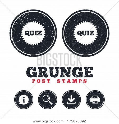 Grunge post stamps. Quiz star sign icon. Questions and answers game symbol. Information, download and printer signs. Aged texture web buttons. Vector