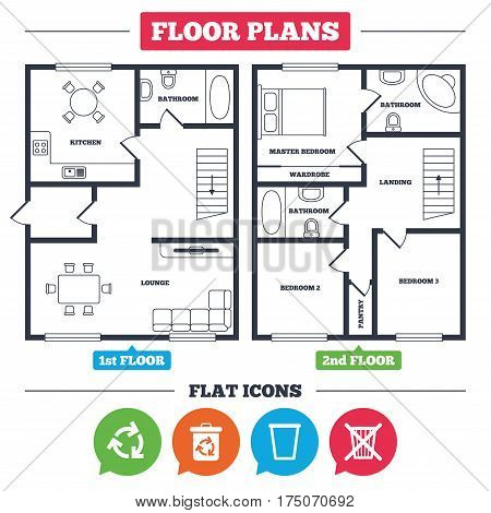 Architecture plan with furniture. House floor plan. Recycle bin icons. Reuse or reduce symbols. Trash can and recycling signs. Kitchen, lounge and bathroom. Vector