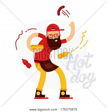 Cheerful hot dog seller man makes the hot dog with ketchup and mustard isolated on white background with lettering. Hot dog cook flat illustration