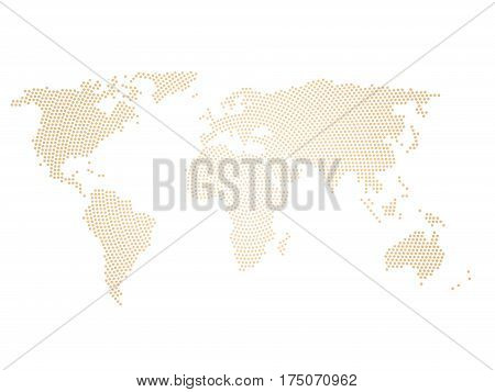 Halftone world map of small dots in radial arrangement. Simple flat vector illustration on white background.