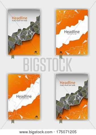 Book cover design set with low poly. Vector illustration.