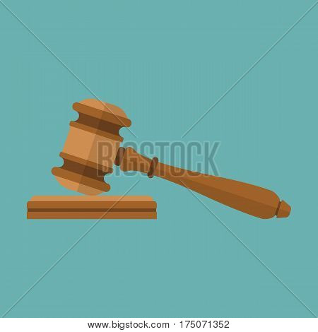 Judge gavel icon. Auction hammer. Isolated on background. Vector illustration of a flat design. Symbol law.