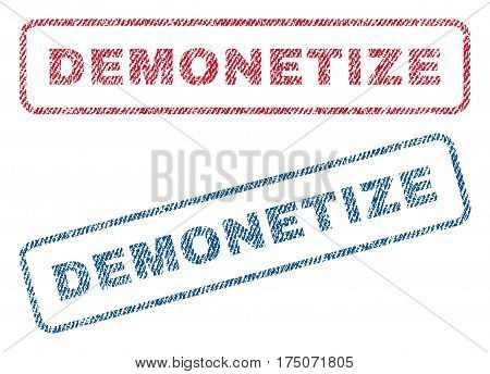 Demonetize text textile seal stamp watermarks. Blue red fabric vectorized texture. Vector tag inside rounded rectangular shape. Rubber emblem with fiber textile structure.