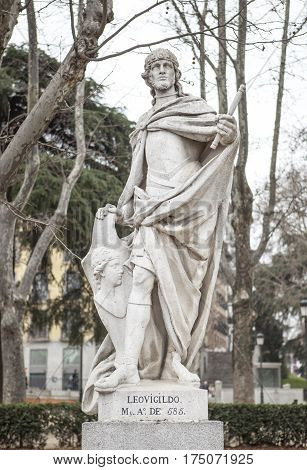 Madrid Spain - february 26 2017: Sculpture of Leovigild King at Plaza de Oriente Madrid. He was a Visigothic King of Hispania and Septimania from 568 to April 586