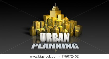 Urban Planning Industry Business Concept with Buildings Background 3D Illustration Render