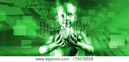 Child Holding Globe and Smiling At the Future 3D Illustration Render