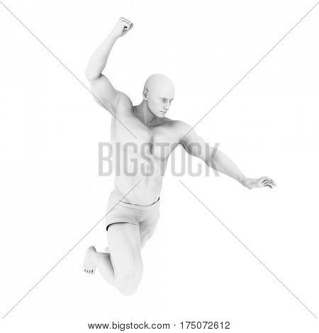 Superhero Pose With a Man in 3d Render Illustration 3D Illustration Render