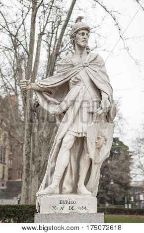 Madrid Spain - february 26 2017: Sculpture of Euric King at Plaza de Oriente Madrid. He ruled as king of the Visigoths from 440 to 484