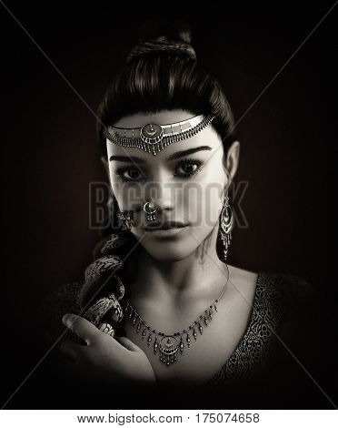 3d computer graphics of a Portrait of a young lady with an indian clothing hairstyle and jewelry