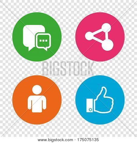 Social media icons. Chat speech bubble and Share link symbols. Like thumb up finger sign. Human person profile. Round buttons on transparent background. Vector