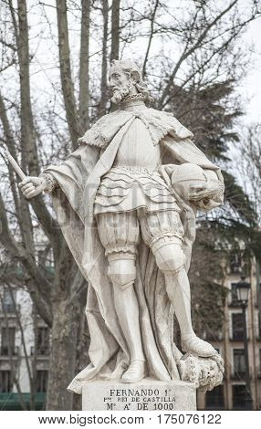 Madrid Spain - february 26 2017: Sculpture of Ferdinand I King at Plaza de Oriente Madrid. He was the first king of Castile from 1056 to 1065