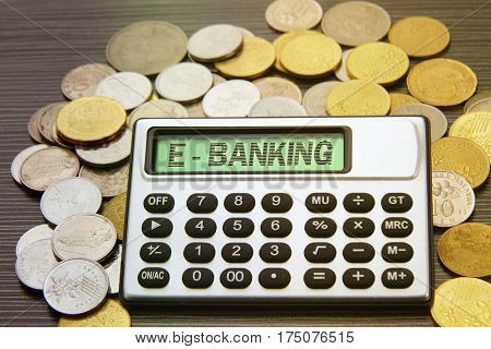 coins and silver calculator with text on display-e banking