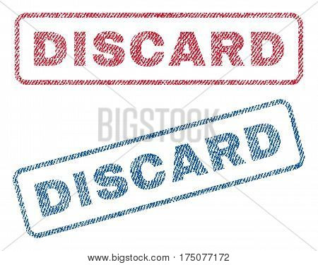 Discard text textile seal stamp watermarks. Blue, red fabric vectorized texture. Vector tag inside rounded rectangular banner. Rubber sign with fiber textile structure.