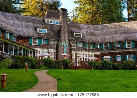 QUINAULT WA - SEPTEMBER 14 2016: Built in 1926 the Lake Quinault Lodge here showing the lake-facing side offers resort-style lodging on Lake Quinault in Washington's Olympic National Forest.