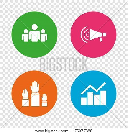 Strike group of people icon. Megaphone loudspeaker sign. Election or voting symbol. Hands raised up. Round buttons on transparent background. Vector