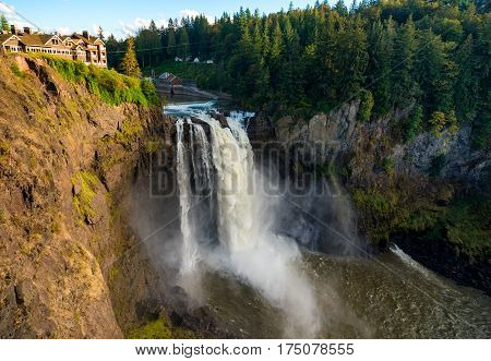 Wide view of Snoqualmie Falls Washington about an hour east of Seattle