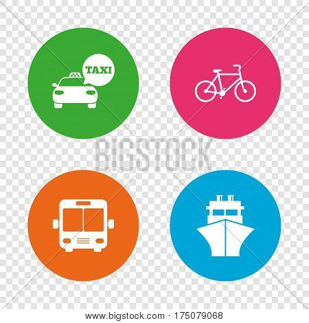 Transport icons. Taxi car, Bicycle, Public bus and Ship signs. Shipping delivery symbol. Speech bubble sign. Round buttons on transparent background. Vector