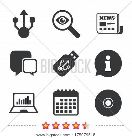 Usb flash drive icons. Notebook or Laptop pc symbols. CD or DVD sign. Compact disc. Newspaper, information and calendar icons. Investigate magnifier, chat symbol. Vector