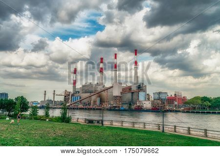 NEW YORK CITY, USA - AUGUST 11, 2016: Ravenswood Generating Station is a 2,480 megawatt power plant in Long Island City in Queens, New York.  It is capable of producing 2,480MW of energy.
