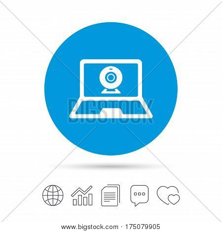 Video chat laptop sign icon. Web communication symbol. Website webcam talk. Copy files, chat speech bubble and chart web icons. Vector