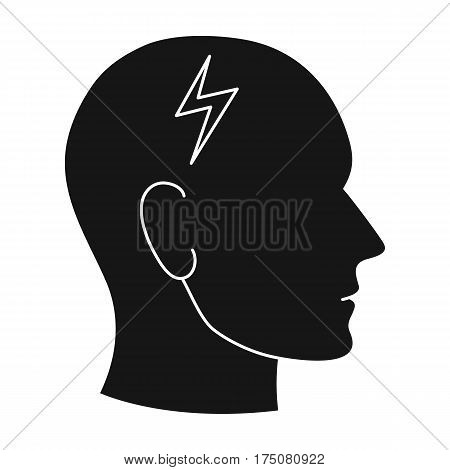 The head of the person with diabetes.Headache due to diabetes .Diabetes single icon in black style vector symbol stock web illustration.