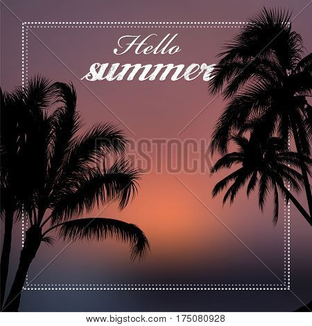 Hello summer vector illustration with palm trees