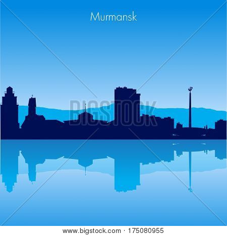 Murmansk Russia Vector detailed skyline with reflexion