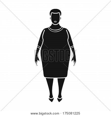 Fat woman in a red dress.A fat woman because of diabetes.Diabetes single icon in black style vector symbol stock web illustration.