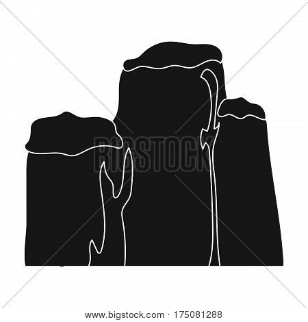 High green mountain with bushes on top.Different mountains single icon in black style vector symbol stock web illustration.