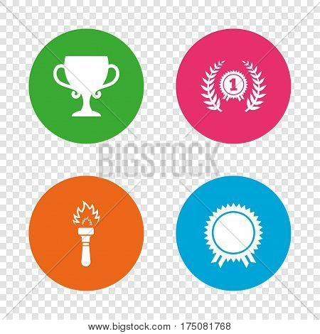 First place award cup icons. Laurel wreath sign. Torch fire flame symbol. Prize for winner. Round buttons on transparent background. Vector