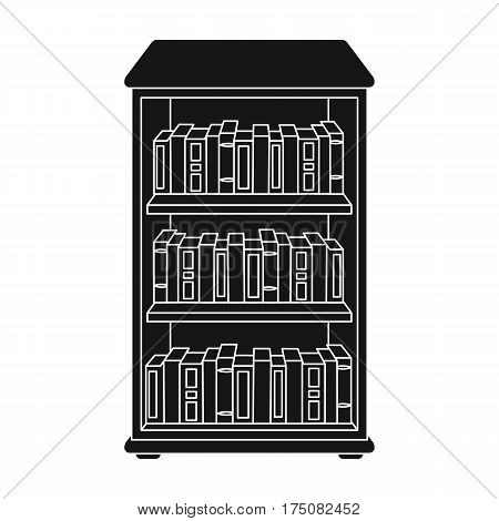 Bookcase with books icon in black design isolated on white background. Library and bookstore symbol stock vector illustration.