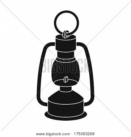 A gas lamp.The lighting device of miners.Mine Industry single icon in black style vector symbol stock web illustration.