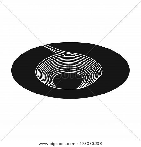 A big hole in the ground.The pit for the excavation of minerals.Mine Industry single icon in black style vector symbol stock web illustration.