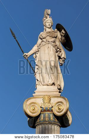 Athena goddess statue in front of Academy of Athens, Attica, Greece