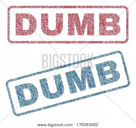 Dumb text textile seal stamp watermarks. Blue, red fabric vectorized texture. Vector caption inside rounded rectangular banner. Rubber sign with fiber textile structure.