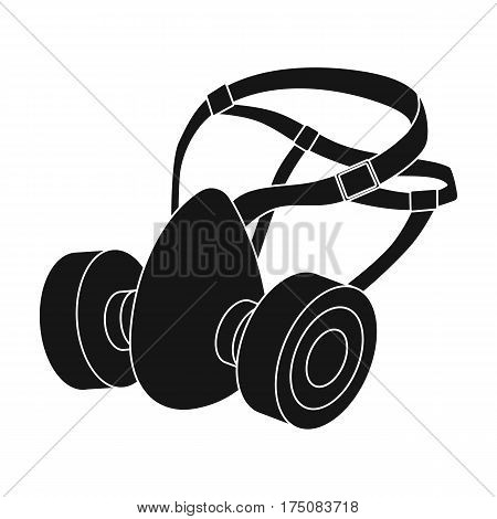 Respirator for miners. Protection from dust . Equipment of miners.Mine Industry single icon in black style vector symbol stock web illustration.