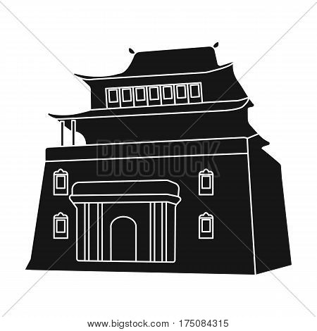 The three-storey building in Mongolia.Mongolian national Shrine of Mitarai.Mongolia single icon in black style vector symbol stock web illustration.
