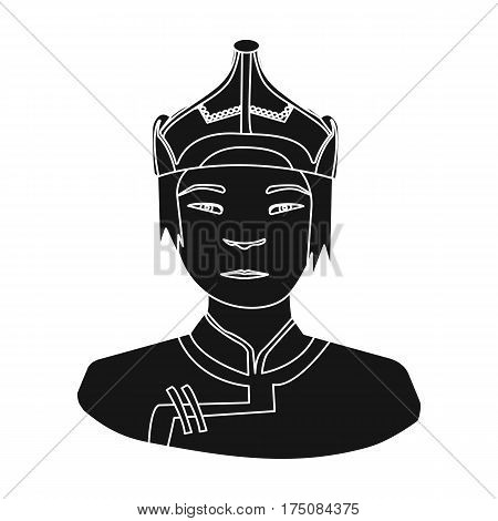 The Mongols in the helmet.Mongolian national protection.Mongolia single icon in black style vector symbol stock web illustration.