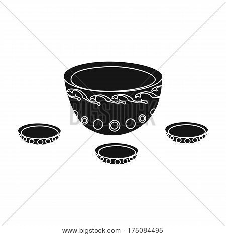 A plate with three cups and Mongolian ornaments.The national dish of the Mongols.Mongolia single icon in black style vector symbol stock web illustration.