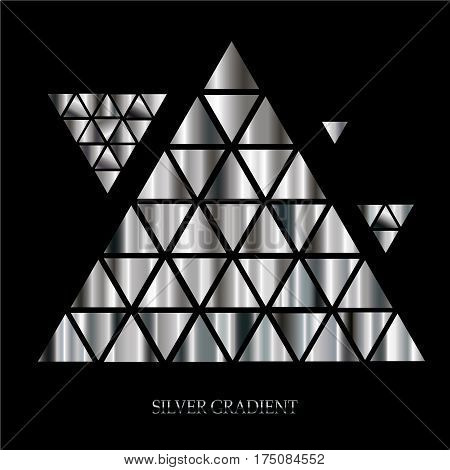 Vector set of silver gradients. Collection of silver gradient illustrations for backgrounds, covers, frames, ribbons, banners, coins, labels, flyers, etc. Vector EPS10 template