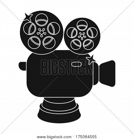 Silver camera with film.The award for the best filming of the movie.Movie awards single icon in black style vector symbol stock web illustration.