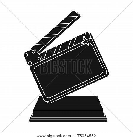 Gold clapperboard on stand.Award for best Director.Movie awards single icon in black style vector symbol stock web illustration.