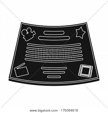 Bronze certificate for the best main role in the film.Movie awards single icon in black style vector symbol stock web illustration.