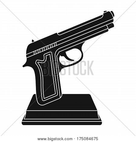 Golden gun on a stand.Award for best crime film.Movie awards single icon in black style vector symbol stock web illustration.