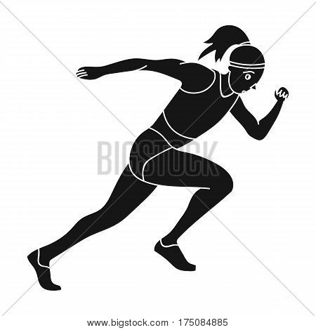 The girl is engaged in athletics.The actives in athletics.active sports single icon in black style vector symbol stock web illustration.