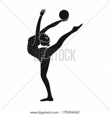Skinny girl with ball in hand dancing sports dance. The girl is engaged in gymnastics.active sports single icon in black style vector symbol stock web illustration.